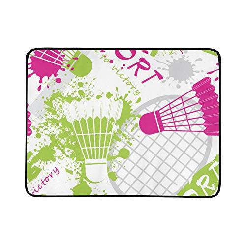 WYYWCY Badmintonschläger Und Tennisschläger Muster Tragbare Und Faltbare Deckenmatte 60x78 Zoll Handliche Matte Für Camping Picknick Strand Indoor Outdoor Reise 1262 Oxford
