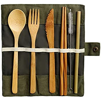 Camping Silver Portable Cutlery Set Mirror Polished Dishwasher Safe Dinnerware Utensils for School Lunch Travel Office Himetsuya Stainless Steel Reusable Travel Flatware Set with case