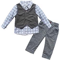 iEFiEL Conjunto de Tres Piezas 1pc Camisa de Manga Larga + 1pc Chaleco + 1pc Pantalones Trajes Casuales de Bautizo para Bebé Niño Gris 6-12 Meses