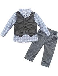 iEFiEL Conjunto de Tres Piezas 1pc Camisa de Manga Larga + 1pc Chaleco + 1pc Pantalones Trajes Casuales de Bautizo para Bebé Niño