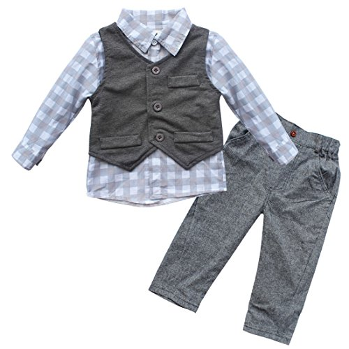 iEFiEL Conjunto de Tres Piezas 1pc Camisa de Manga Larga + 1pc Chaleco + 1pc Pantalones Trajes Casuales de Bautizo para Bebé Niño Gris 12-18 Meses