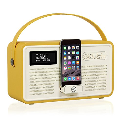 Radio digital VQ Retro Mk II DAB & DAB+ con FM, Bluetooth, Lightning Dock de Apple y reloj despertador
