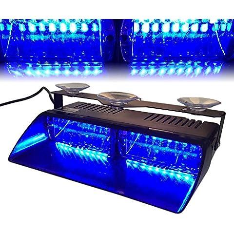 T Tocas 16 LED de alta intensidad de Aplicación de la Ley de Emergencia Beacon advertencia de peligro Lámparas luces estroboscópicas para Vehículo Camión SUV interior del techo / tablero de instrumentos / parabrisas con ventosas (azul)