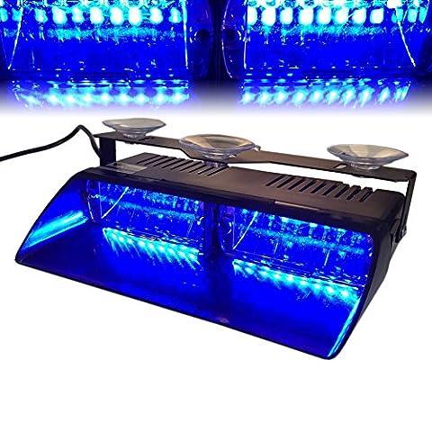 T Tocas(tm) 12V 16 LED Voiture Intérieur de haute intensité à Bleu LED Balise Feu de détresse LED Flash Stroboscope Clignotant Lampe urgente pour véhicules automobiles Camions SUV Intérieur Toit / Dash / Pare-brise, avec Ventouse - Blu Auto Lights