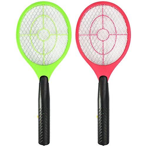 com-four® 2X Elektronische Fliegenklatsche, Fliegenfänger, Mosquito-Schläger, 3 V (02 Stück - farblich Sortiert)