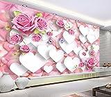 Weaeo 3D Wandbilder Tapete Für Wohnzimmer Wände 3D Fototapete Mode Liebe Rosen Blume Wohnkultur Benutzerdefinierte Wandmalerei-120X100Cm