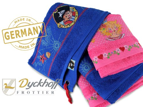 Geschenkideen aus dem Hause Dyckhoff - Frottierserie Capt´n Sharky und Lillifee - made in Germany - mit dekorativer Bordüre und liebevoll...