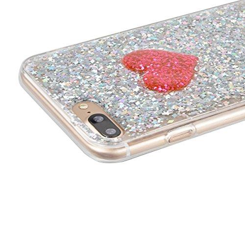 Coque iPhone 7 Plus Glitter. Housse iPhone 7 Plus GrandEver Etui Silicone Souple Back Cover Bling Bling Rose rouge Case Cover 3D Cœur Motif Flexible Soft Back Case TPU Clair Cristal Rubber Gel coquill Paillette Argent