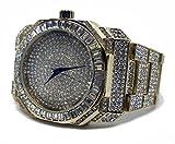 baguette quadrante finta con cinturino in metallo placcato oro HipHop Bling orologio