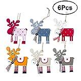 BESTOYARD Weihnachten Elch Ornamente Holz Bunte Hängende Rentier Anhänger Verschönerung Weihnachten Hängende Tags Dekoration für Weihnachtsbaum 6 Stücke