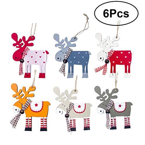 BESTOYARD Weihnachten Elch Ornamente Holz Bunte Hängende Rentier Anhänger Verschönerung Weihnachten Hängende Tags Dekoration für Weihnachtsbaum 6 Stücke -