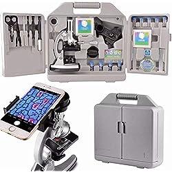 Moutec Ensemble de microscope éducatif pour enfants, grossissements 300x600x 1200x, comprend 70pcs + accessoires et étui de rangement pour téléphone portable avec adaptateur