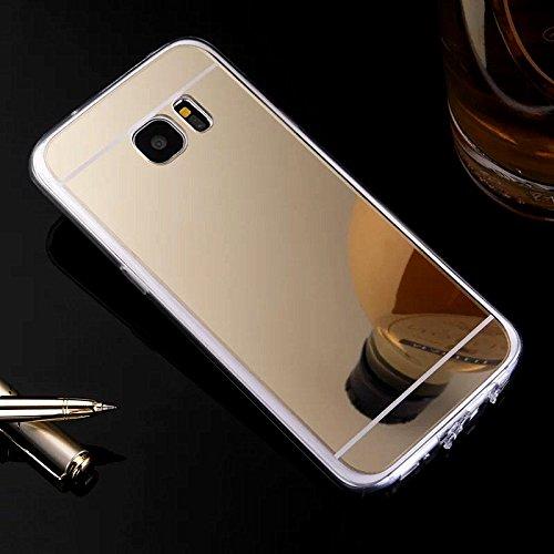 Hancda Hülle für Samsung Galaxy S6, Elegant Simple Hülle Case Schutzhülle Ultra Dünn Slim Spiegel Silikonhülle Handyhülle Transparent Bumper Handytasche für Samsung Galaxy S6 - Gold