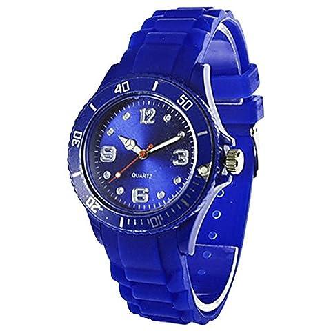 Montre-bracelet Classique Multicolore Gel Silicone Unisexe pour Femme Fille Bleu Marine