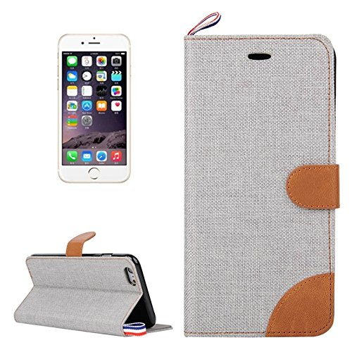 Phone case & Hülle Für IPhone 6 Plus / 6s Plus, Denim Texture Horizontale Flip Leder Tasche mit Card Slots & Halter & Lanyard ( Color : Baby Blue ) Grey