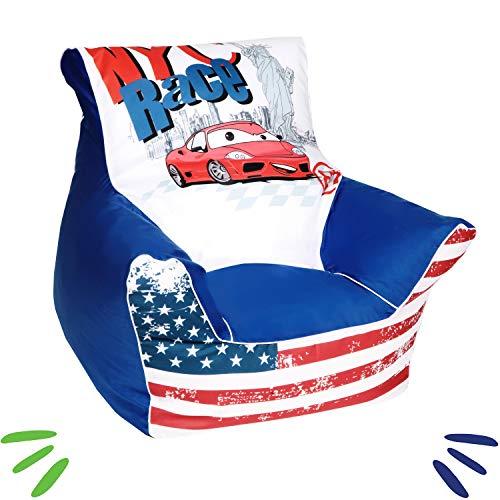 DELSIT Kindersitzsack Kinder Sitzsack Spielzimmer Kindermöbel für Jungen RENNEN Blau