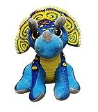 Peluche de Dinosaurio Triceratops de Color Azul y Amarillo 11'/28cm Calidad Super Soft