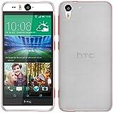 PhoneNatic Case für HTC Desire Eye Hülle Silikon weiß brushed Cover Desire Eye Tasche + 2 Schutzfolien