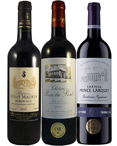 LE WINE CLUB Boîte de 3 Grands Vins de Bordeaux Millesime Exceptionnel Château Haut Maurin 2015/ Château Prince Larquey 2015/ Château Rosé du Pont 2015 75 cl