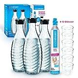 Sodastream Promopack Zylinder mit Glaskaraffe (1 x CO2-Zylinder für 60L und 3 x 0,6L Glaskaraffe, Karaffe Glas, für Crystal u