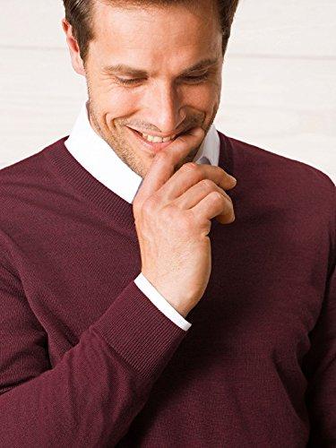 Walbusch Herren Merino-Mix-Pullover einfarbig V-Ausschnitt in den Farben Blau, Braun, Grau, Rot, Schwarz, Taupe, Marine, Bordeaux, Anthrazit, Jeansblau, Silbergrau Bordeaux