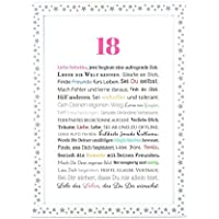 18. Geburtstag - Geschenkidee zur Volljährigkeit - Personalisiertes Bild mit Rahmen als Geschenk für den jungen Erwachsenen - Geburtstagsgeschenk für Mädchen / Frauen oder Beigabe zum Geldgeschenk