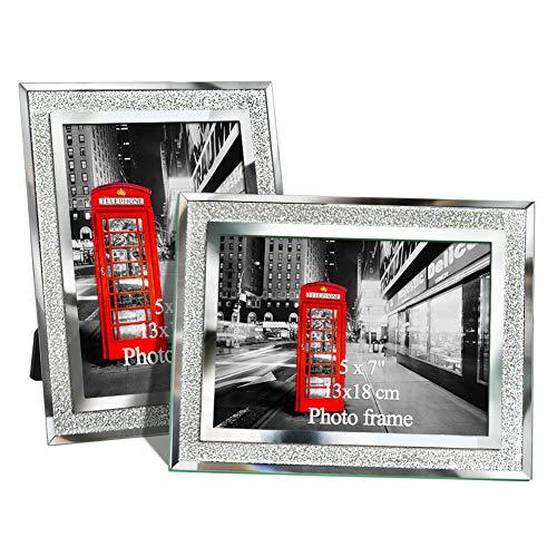 Amazing Roo Bilderrahmen aus Glas, verspiegelt, 12,7 x 17,8 cm, silberfarben, 2 Stück (Großen, Verspiegelten Bilderrahmen)