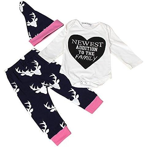 ZARU Ropa recién nacida de los muchachos del muchacho de la impresión del alce del bebé,Navidad Romper,Pantalón,Sombrero,0 a 2 años