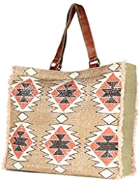 Brown Color Large Handmade Rug Tote Shoulder Bag Stylish Shopping Casual Bag Foldaway Travel Bag
