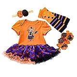 BabyPreg Disfraz Bebe Halloween Vestido Tutu Bebe Niñas 4Pieza (M / 6-9 Meses, Bruja)