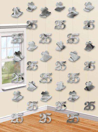 Amscan 'Silber Wishes Aufhängen zum 25. Hochzeitstag kettendekoration (6ct)