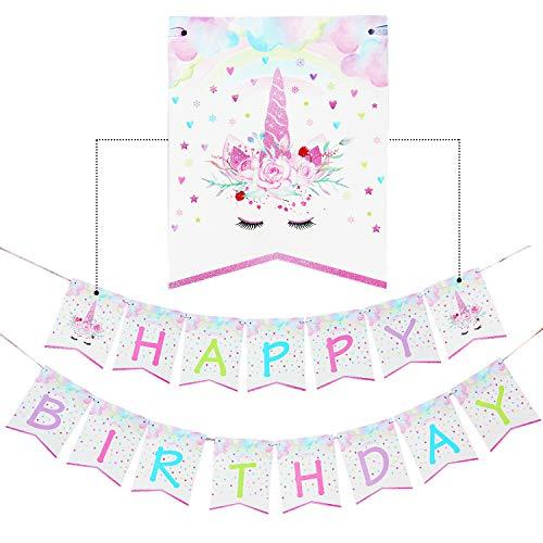 ty Zubehör Dekoration - Happy Birthday Girlanden Lila Pastell Funkeln Regenbogen Einhorn Banner Bunting für Kinder Mädchen Geburtstag Einhorn Themen Party Deco Vormontage ()