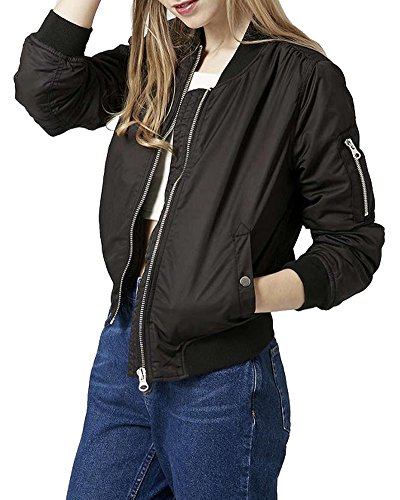 SaiDeng Giacca Bomber Jacket Donna Stile Vintaje Giubbotto Con Cerniera Cappotto Motociclista Nero