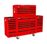 motamec PRO94 Roller Schrank + Top Tool Chest Stack + 2 x Seite Rolle Cab Rot