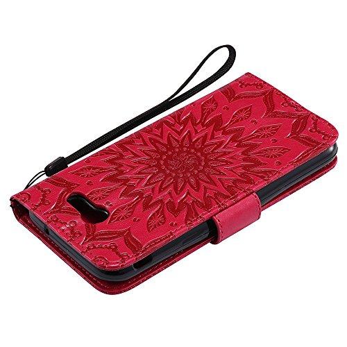 Für Samsung Galaxy J3 2017 Fall, Prägen Sonnenblume Magnetische Muster Premium Soft PU Leder Brieftasche Stand Case Cover mit Lanyard & Halter & Card Slots ( Color : Brown ) Red