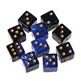 Manyo 10pcs 6 Seitige Würfel, leicht und tragbar, perfekt für Brettspiel, Club und Bar Spiel Tool, Familienspiel, Math Teaching. (1)