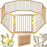 Kesser® 7,2 Meter Laufgitter XXL klappbar, bestehend aus 8 Elementen, inkl. Tür, Laufgitter individuell formbar Laufstall Absperrgitter, Erweiterbar, Farbe:Gelb
