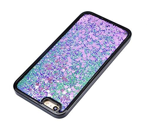 Bling Coque pour iPhone 5 / 5S (4,0 pouces),Sunroyal Liquide Crystal Transparent Clair 3D Flowing Briller Sparkles Diamant Coquille Soft TPU Silicone Glitter Shell Étui Bumper Dual Layer Transparent S Violet