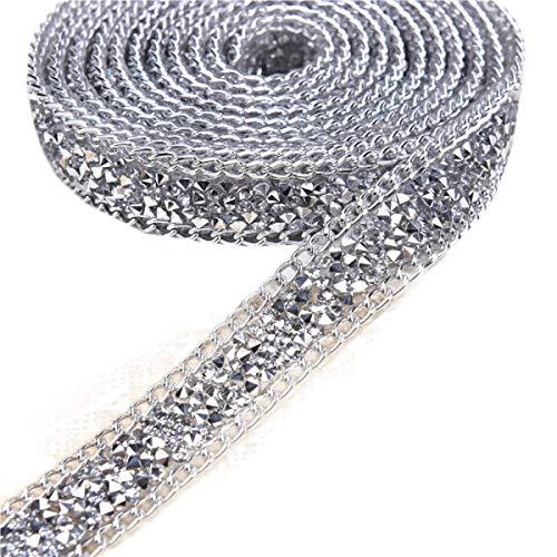 Yalulu 1 Yards Glitter Tape Strassband Eisen Auf Diamant Kristall Band Wrap Trim Klebeband Klebrige Hochzeitstorte Nähzubehör DIY Nähen Tape (Silber)