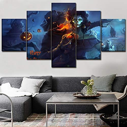 myvovo HD Drucke Leinwand Hause Dekorative Halloween Malerei 5 Stücke Kürbis Fledermaus Wandkunst Modulare Wohnzimmer Bilder Kunstwerk Poster-30x40cmx2 30x60cmx2 30x80cmx1