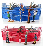 Western Rodeo Deluxe Playset - Bullriders, Clowns, Red / Blue Fence by New Ray