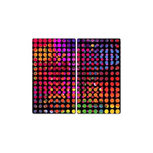 DekoGlas Herdabdeckplatten Set inkl. Noppen aus Glas 'Farbige Kreise', Herd Ceranfeld Abdeckung, 2-teilig universal 2X 52x30 cm