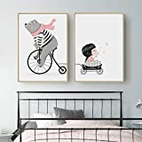 BZZBZZ Immagine della Decorazione della Parete del Modello del Fumetto con Cornice, Pittura murale della Bambina dell'orso, Adatta per la Sala da Pranzo della Stanza dei Bambini, (2 Pezzi)