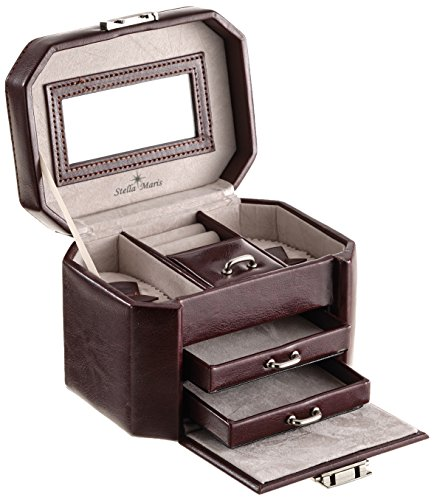 Image of Stella Maris – stmp0140 – Modena – Women's – Brown – Faux Leather Jewelry Box with Drawers and Mirror – Velvet Inside. Key lockable – 15.5 x 10.5 x 10.5 cm
