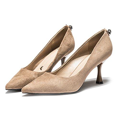 Yra Frauen Schuhe Mit Hohen Absätzen Frühling Neue Wilde Wies Frauen Schuhe Arbeit Schuhe Bögen 6 5 Cm,Beige-EU:39/UK:6.5