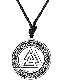 Collar con colgante de calabaza de pescado, diseño de Nórdico vikingo de Valknut con símbolo de Odin (24 amuletos)