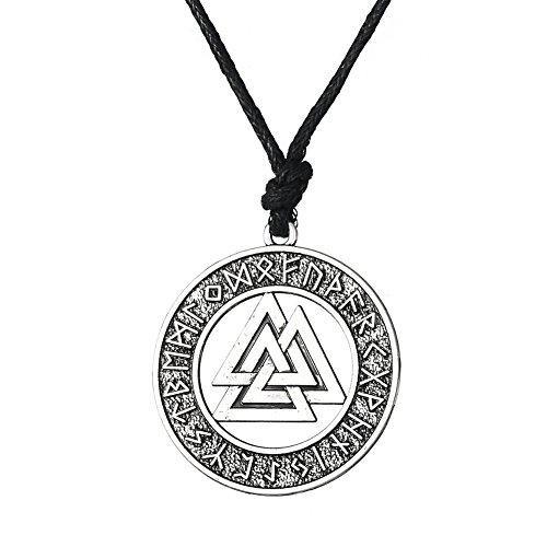 LIKGREAT Norse Vikings Pendant Necklace with Norse Valknut RUNE Jewelry for Men and Women