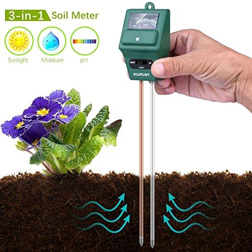 Bodentester 3 in 1 Garden Soil Tester, Kuman Plant Moisture Sensor Meter Light PH Soil Test Kit for Home, Garden, Lawn, Farm, Indoor & Outdoor Use-No Battery Needed KP03