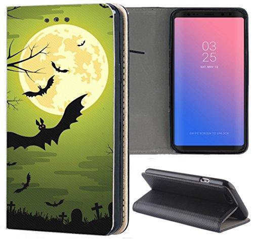 Samsung Galaxy J3 2017 J330/Dous Hülle Premium Smart Einseitig Flipcover Hülle J3 2017 J330/Dous Flip Case Handyhülle Samsung Galaxy J3 2017 J330/Dous Motiv (1505 Fledermaus Bat Cartoon Halloween)