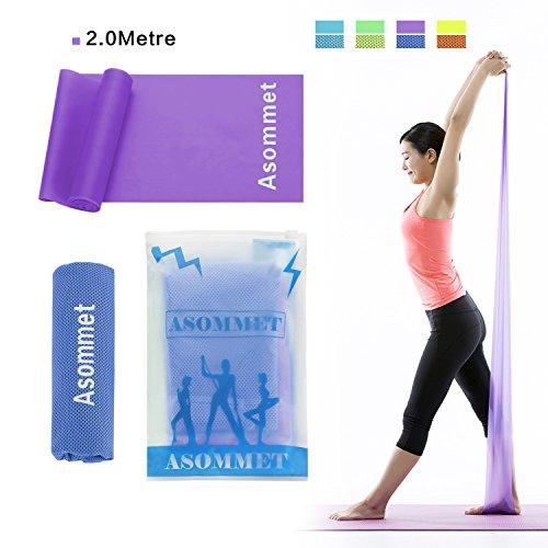 2,0 metri bande elastiche di resistenza liveup sports fasce elastiche per l'allenamento con sport raffreddamento asciugamani per pilates yoga, allenamento palestra crossfit o riabilitazione, viola